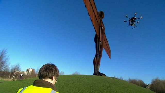 drone filming Angel of the North