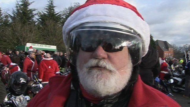 Biker dressed as Santa
