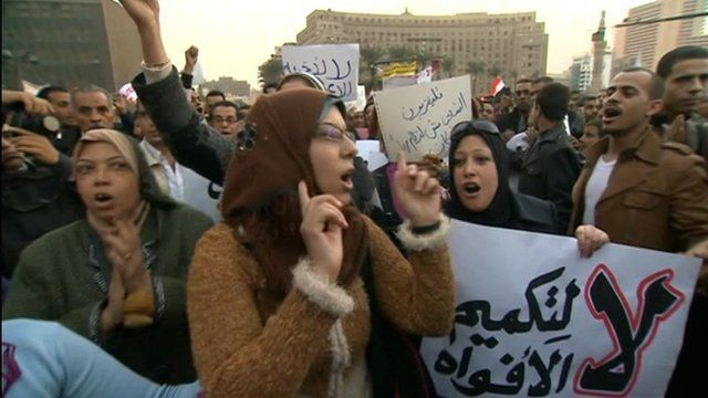 Protesters in Egypt's Tahrir Square
