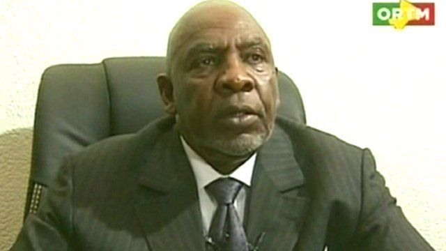 Cheik Modibo Diarra appearing on state television in Mali