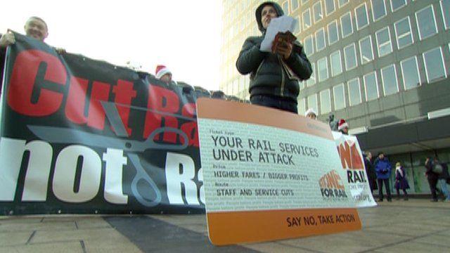 Protesters outside London Euston railway station