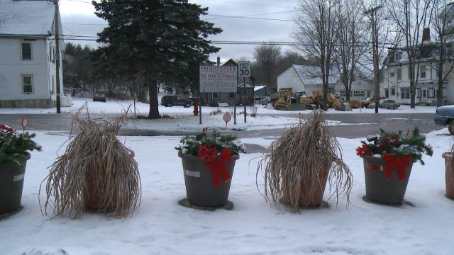 Flower pots on Church Street mark the US-Canada border
