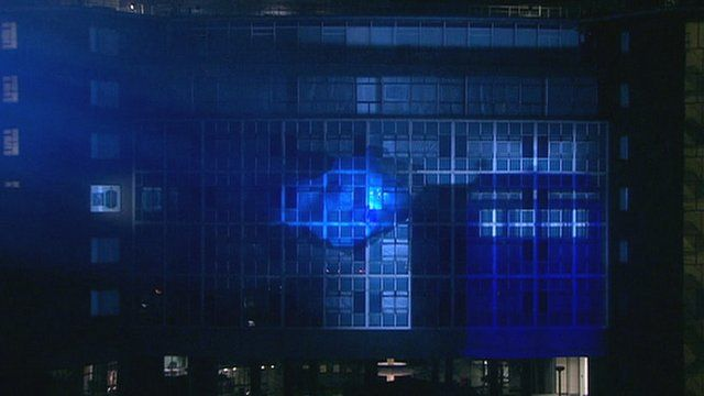 Tardis bursts from TV Centre