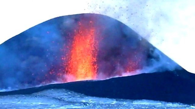 A spurt of lava from the Plosky Tolbachik volcano