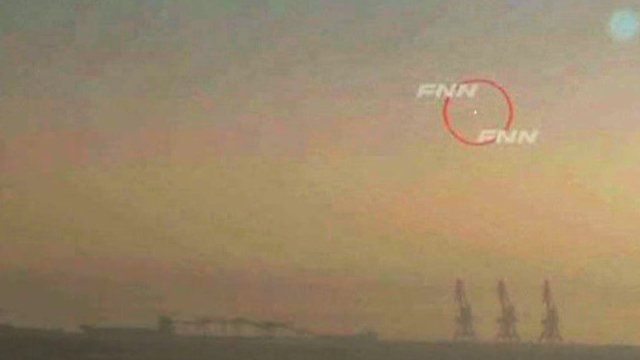 Pictures from Japanese TV purporting to show the rocket mid-flight