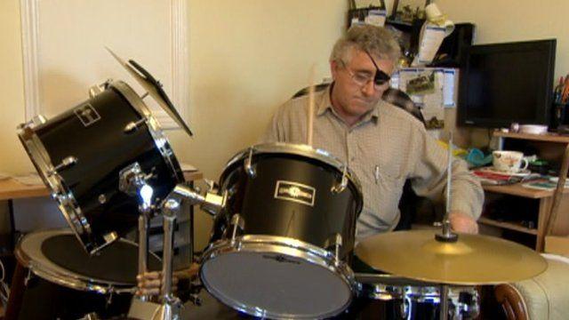 Alex Mycawka and drum kit