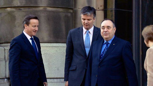 Prime Minister David Cameron, Secretary of State for Scotland Michael Moore, First Minister Alex Salmond and Deputy First Minister Nicola Sturgeon