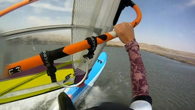 Helmet camera picture of Zara Davis windsurfing