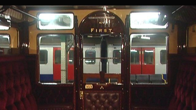The view of a modern Metropolitan Line train from inside its 100-year-old forerunner