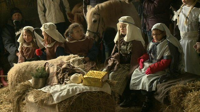 Nativity play with real animals