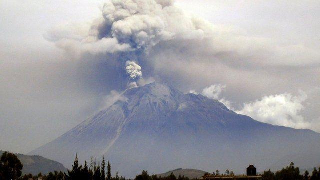 View of the Tungurahua volcano from Riobamba