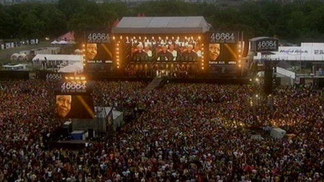 The stage at a concert in London's Hyde Park celebrating Nelson Mandela's 90th birthday