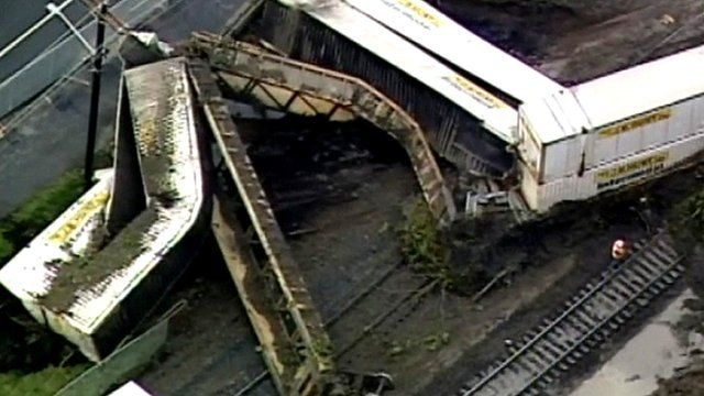 Aerial view of train derailment