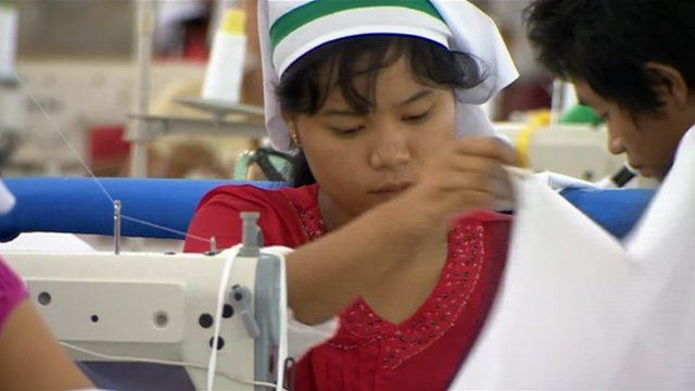 Woman in factory in Burma