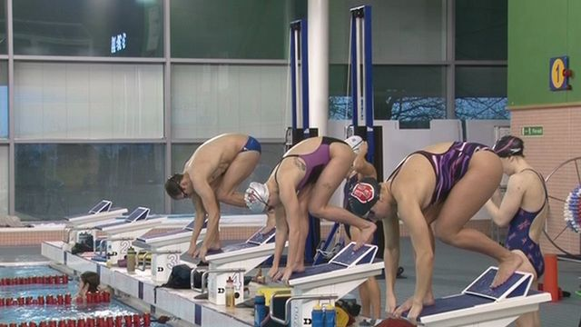 Swimmers training in Swansea