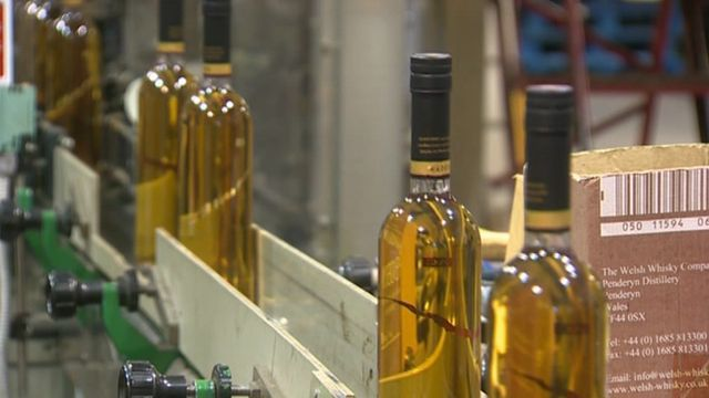 Penderyn whisky bottles on production line