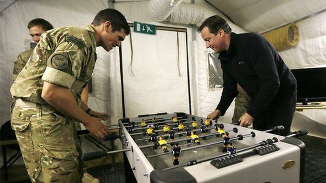 David Cameron plays table football with soldiers in Afghanistan