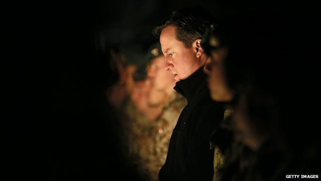 David Cameron at a service for troops in Afghanistan