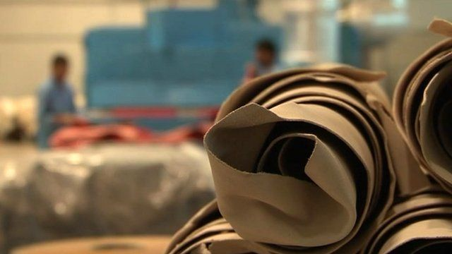 Rolls of camel leather