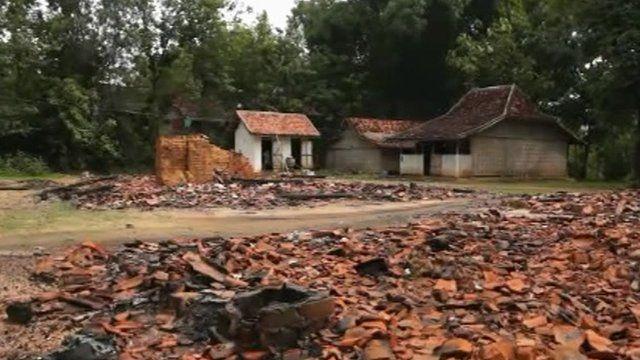 Shia village burned down