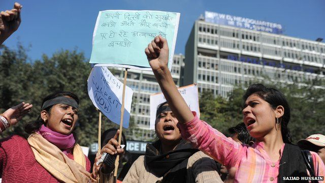 Women in Delhi protesting against rape in India
