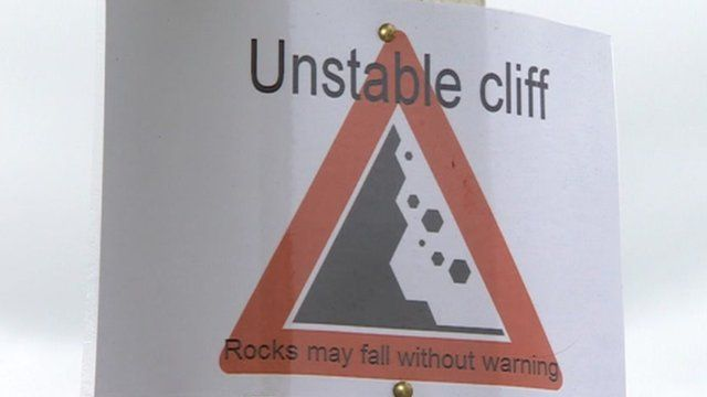 Landslip warning sign