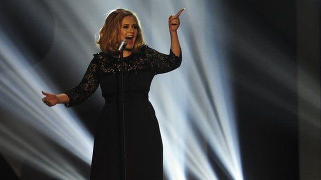 Adele singing at the 2012 Brit Awards