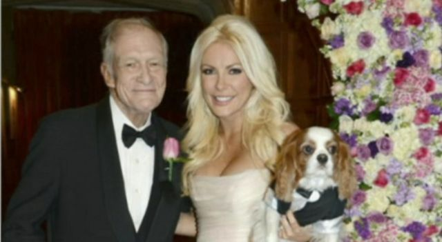 Hugh Hefner with his new wife Crystal Harris and her dog Charlie
