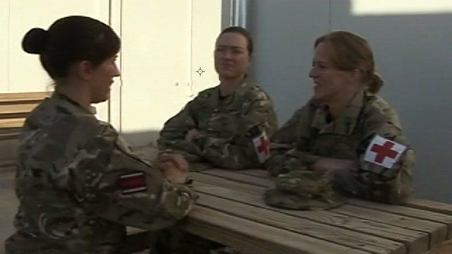 Sarah Price, Marie Hatfield and Marie Bellwood in Camp Bastion