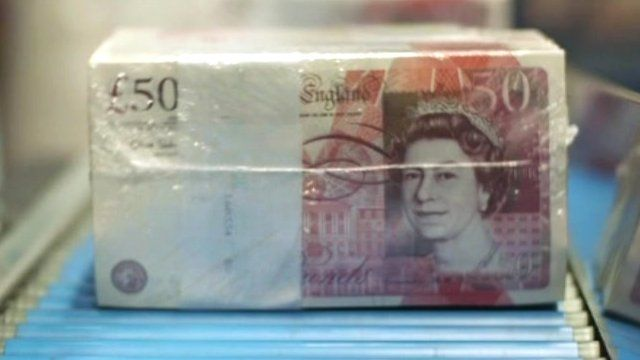 A packet of £50 notes