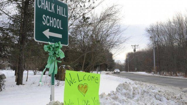 A Chalk Hill school sign in Monroe, 2 Jan 2013