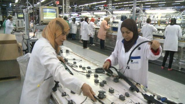 Electrical factory workers in Tunisia