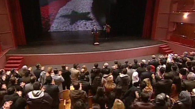 Syrian President Bashar al-Assad delivers his address
