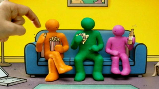 Advert showing three characters eating junk food