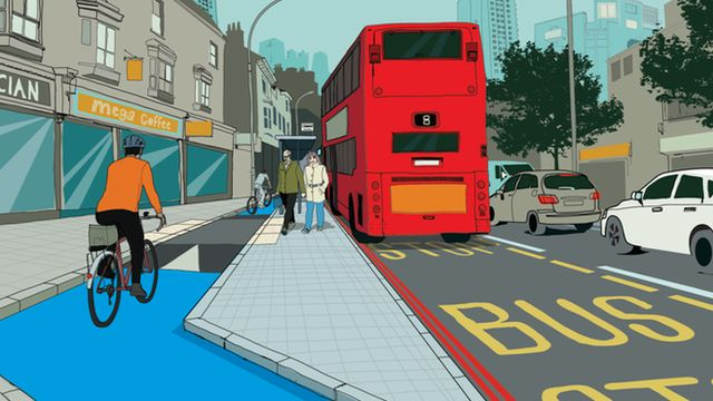 New designs will allow cyclists to undertake buses at stops