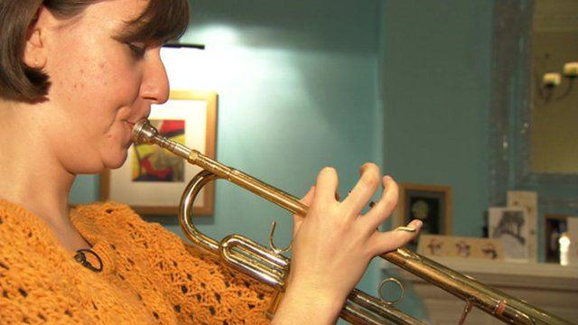 Amy Hetherington plays the trumpet