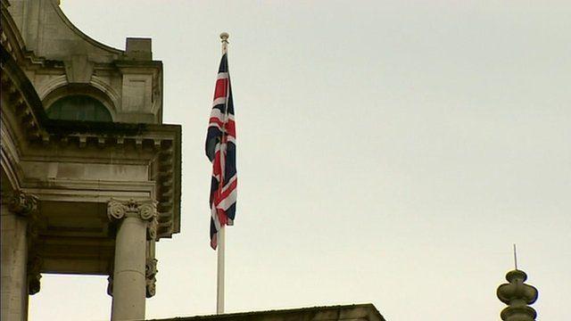 The Union flag raised over Belfast City Hall