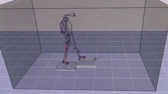 Computer model generated by researchers of an elderly person walking