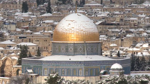The Dome of the Rock in the Old City of Jerusalem covered in snow