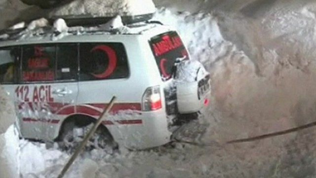 Ambulance stuck in the snow