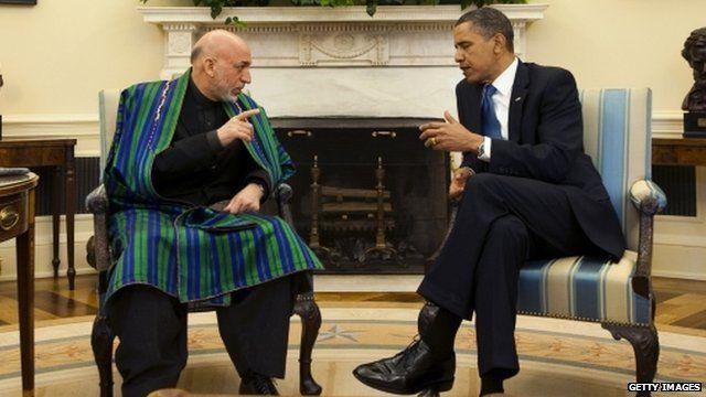 Afghan President Hamid Karzai and US President Barack Obama