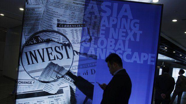A participant at the Asian Financial Forum in Hong Kong January 14, 2013