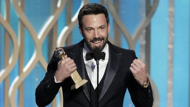 "This image released by NBC shows Ben Affleck with his award for best director for ""Argo"""