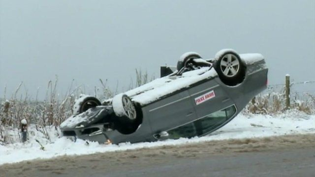 Overturned car in Aberdeenshire