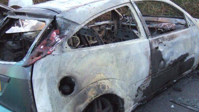 Burned-out car in Peterborough