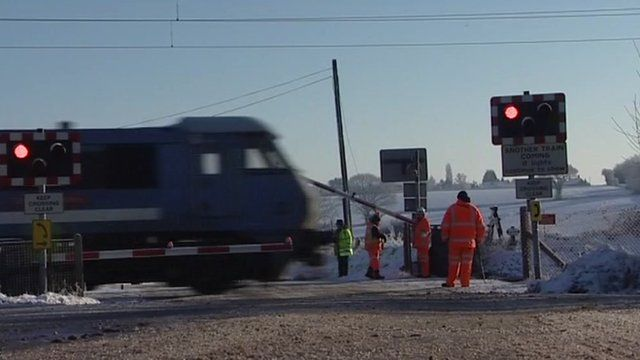 Train at snow bound level crossing