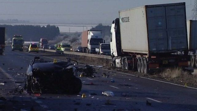 Scene of crash on A14