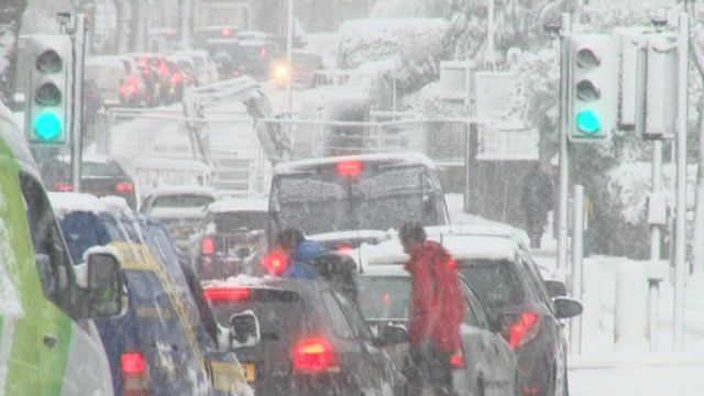 Traffic queues in snowy conditions