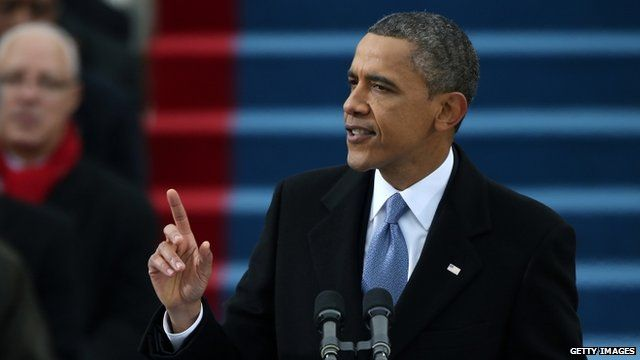 President Barack Obama speaks during the presidential inauguration