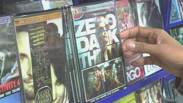 An illegal copy of Zero Dark Thirty on DVD